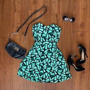 Candie's Strapless Green/Black Dress